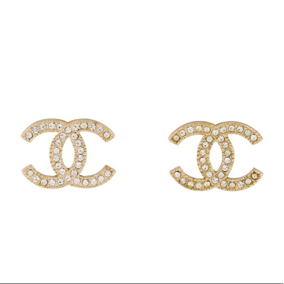 7c78a401b CHANEL Jewelry | Crystal Cc Logo Stud Earrings Interlocking | Poshmark